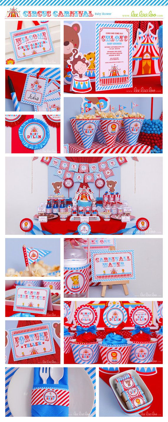 circus baby shower package collection set mega personalized printable