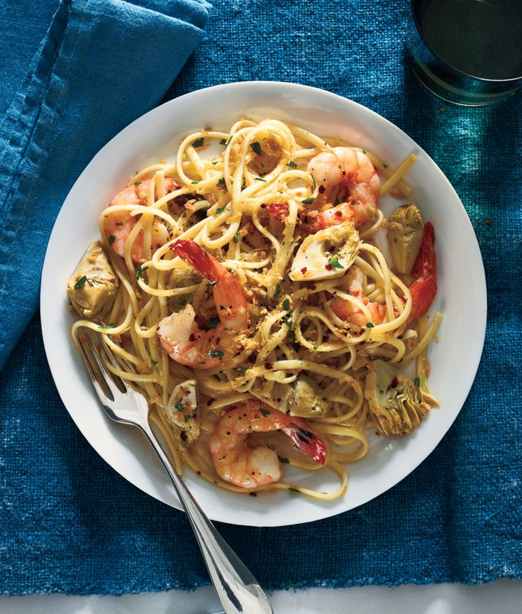 Linguine With Shrimp, Artichokes, and Crispy Bread Crumbs: use whole ...