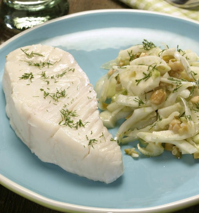 Cold-poached halibut with fennel-olive salad | Recipe