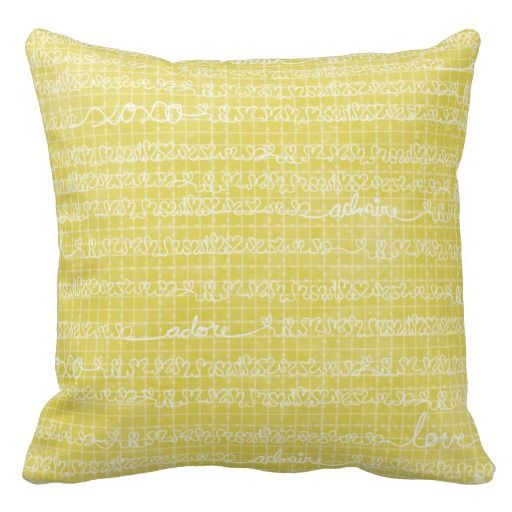 yellow words throw pillow