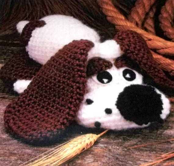 Crochet dog pattern with floppy ears puppy vintage 80s annies crochet
