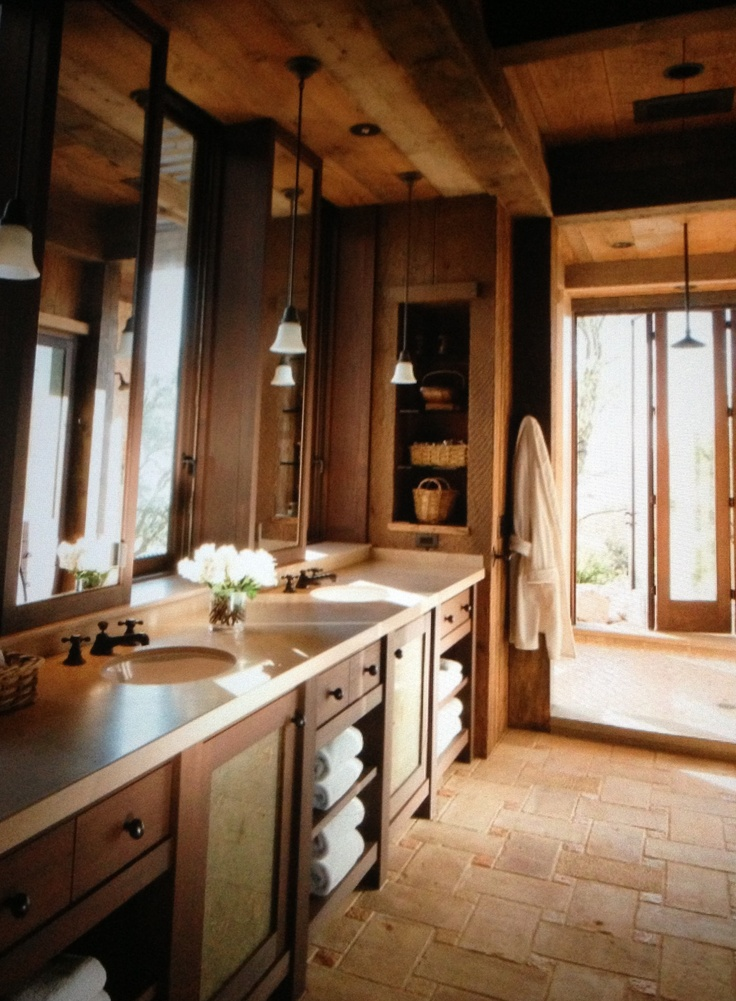 Elegant yet rustic master bathroom for the home pinterest for Rustic master bathroom designs