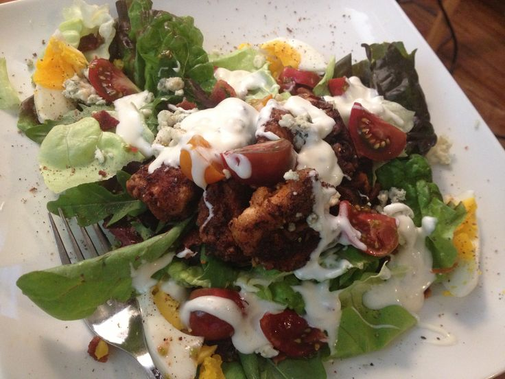 Homemade Cobb Salad with fried chicken and cherry tomatoes. So good!