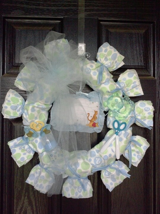 baby shower diaper wreath baby stuff pinterest
