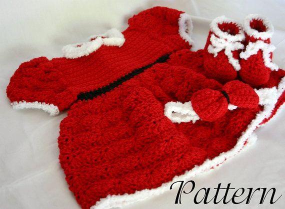 Baby christmas dress pdf crochet pattern 0 6 month size infant girl c