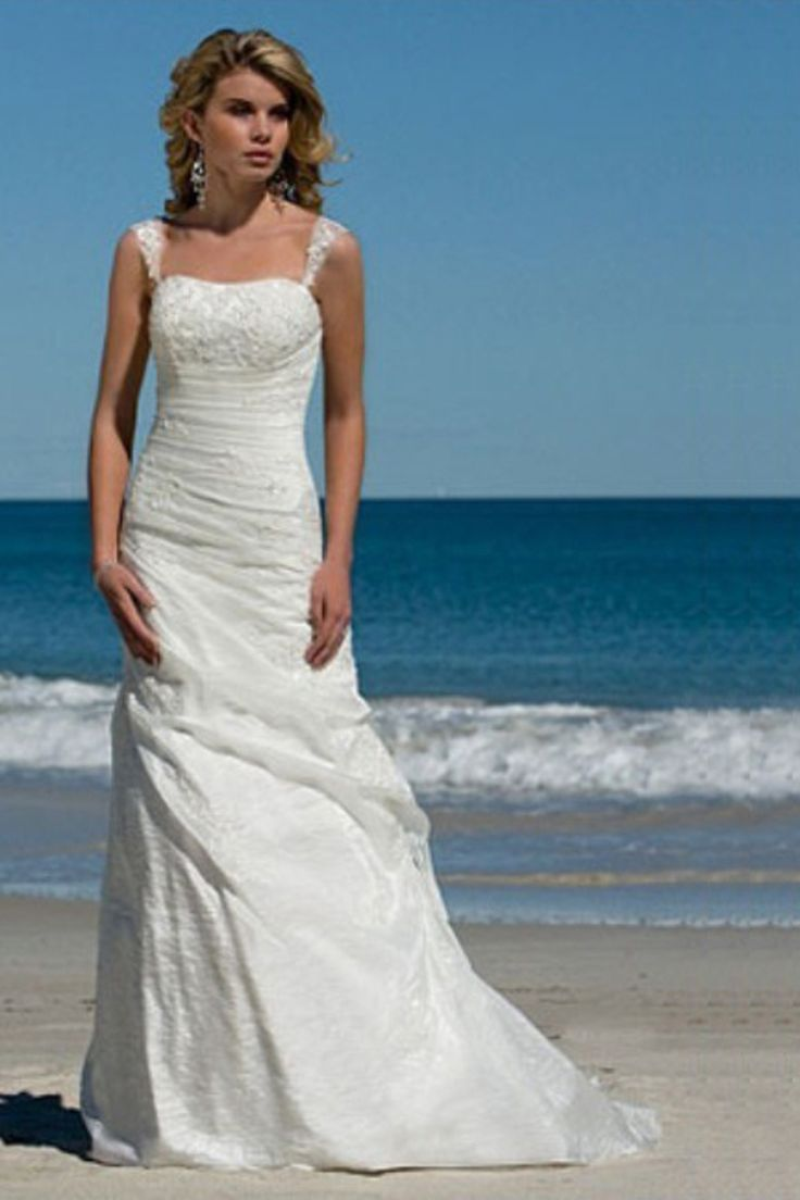 Simple wedding gown beach the image kid for Beach wedding dresses online