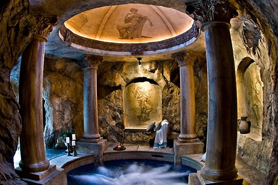 Incredible fire-&-water pool with hidden grotto, Utah - pic 5 of 5 - columns and domed ceiling over the spa, inside grotto