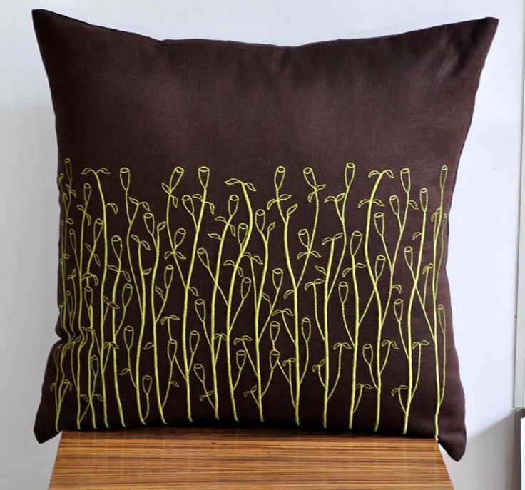 Lime Green Pillow Cover, Decorative Pillow Cover, Dark Brown Linen Pi?