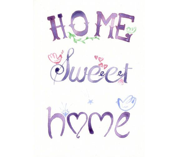 Original watercolor Painting Home Sweet HOme Quote by MilkFoam, $30.00