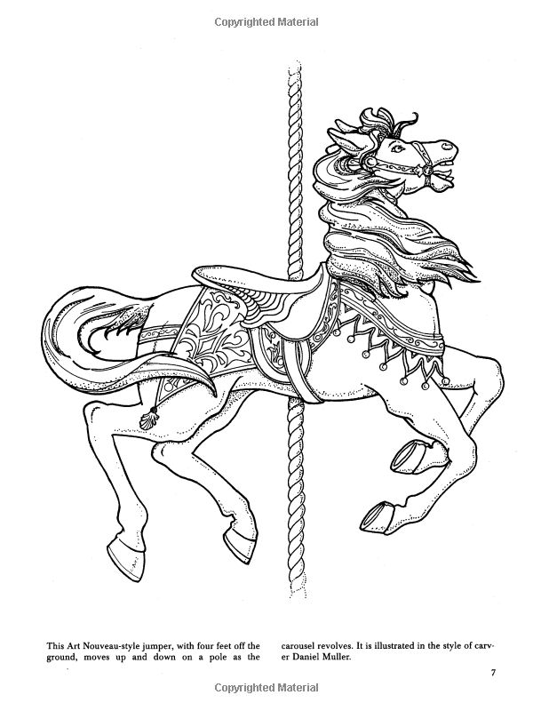 The gallery for carousel coloring page Carousel animals coloring book