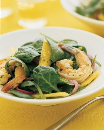 Spinach Salad with Spiced Shrimp and Mango and more at MarthaStewart ...