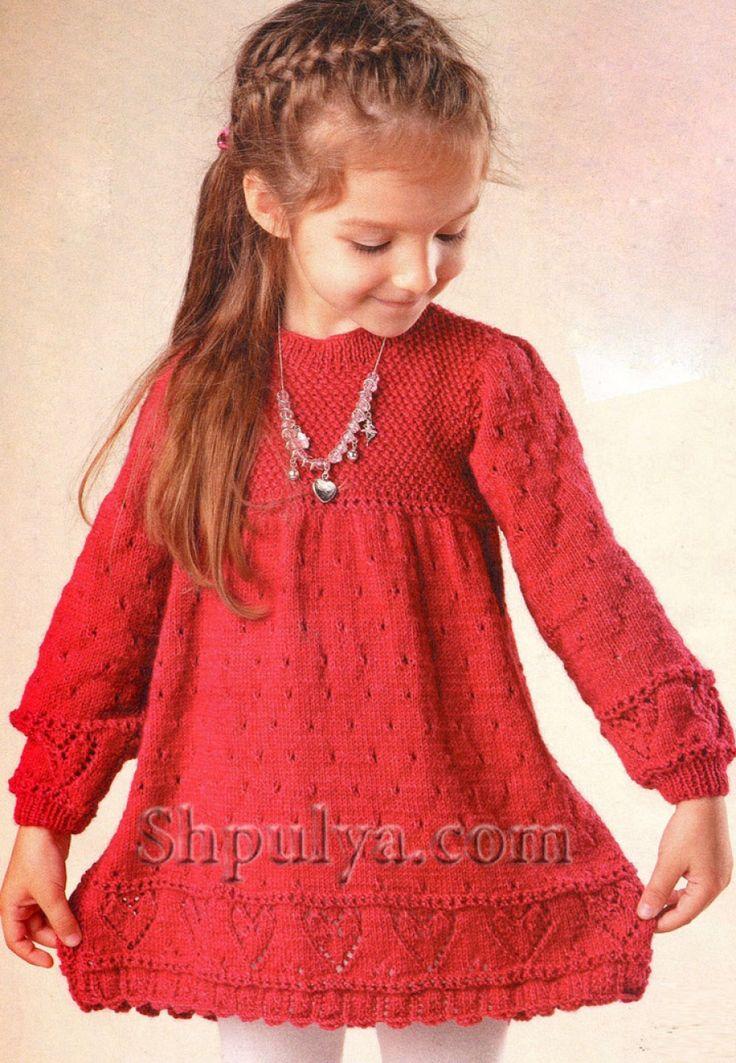Вязание спицами для девочки платье платья 727