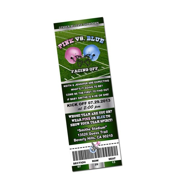 gender reveal release football baby shower ticket invitations