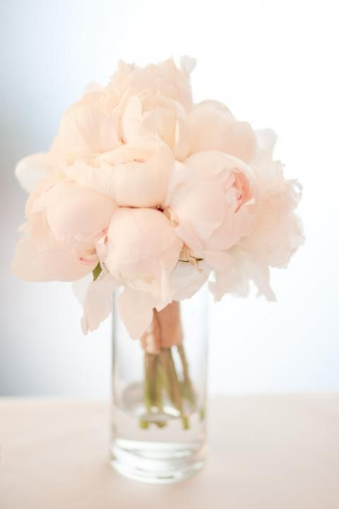 For a close knit wedding affair, try this inexpensive easy flower arrangement. A single variety bunch of big blush peonies in a long drink glass is simple yet charming.