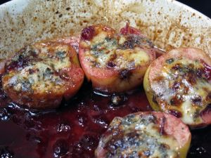 ... Stuffed Apples with maple cranberry compote and Gorgonzola cheese