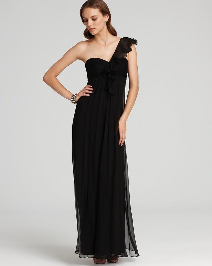 Amsale Ruffle Front One Shoulder Gown Bridesmaid Dresses Pinterest