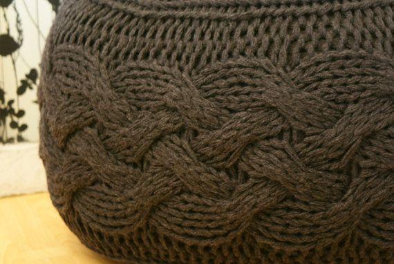 Knitted Footstool Pattern : DIY Knitting PATTERN - Pouffe / Footstool / Ottoman Super Chunky Cabl?