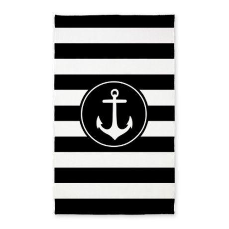 Black Nautical Anchor Stripes Xlima Area Rug Rugs Area