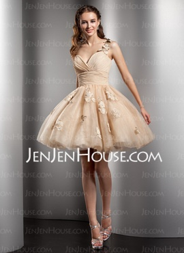 Princess One-Shoulder Short/Mini Chiffon Tulle Homecoming Dresses With Ruffle Beading