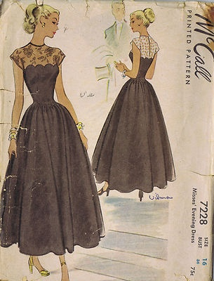 Vintage 50s Evening Cocktail Dress Pattern All around gathered four-gored skirt joined to bodice at princess waistline. Dart fitted bodice features scalloped edging with lace accents with cap sleeves.