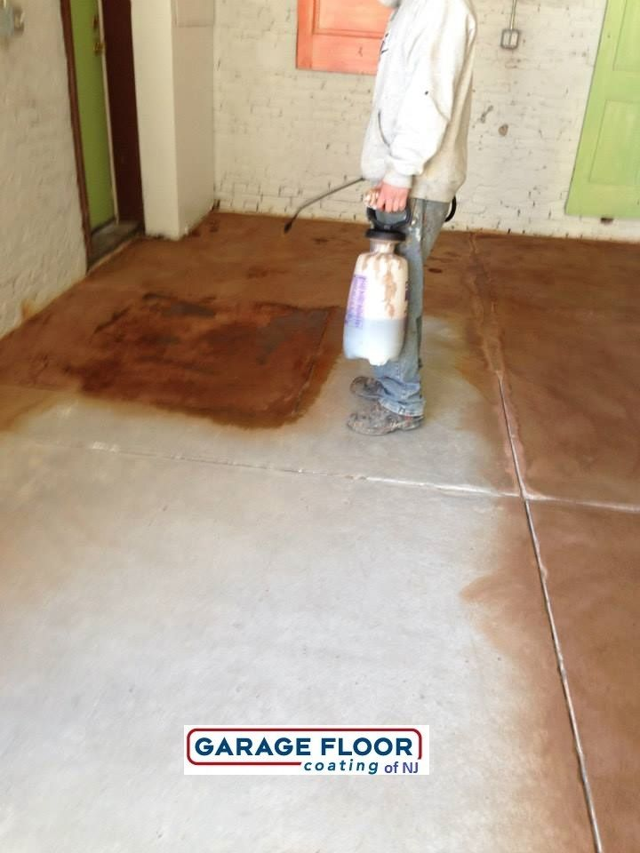 Pin by garage floor coating of new jersey on epoxy floor for How to clean stained concrete garage floors