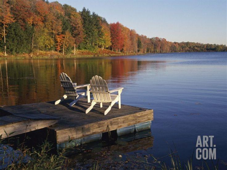 adirondack chairs on dock fall pinterest