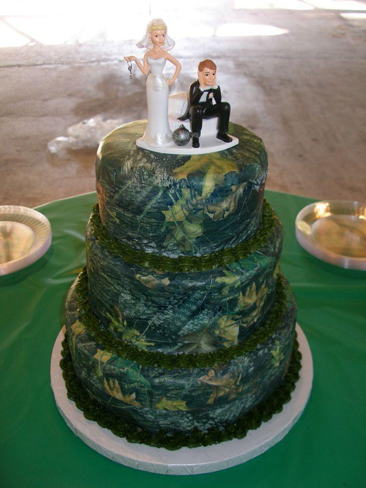 Camo And Pink Wedding Cake