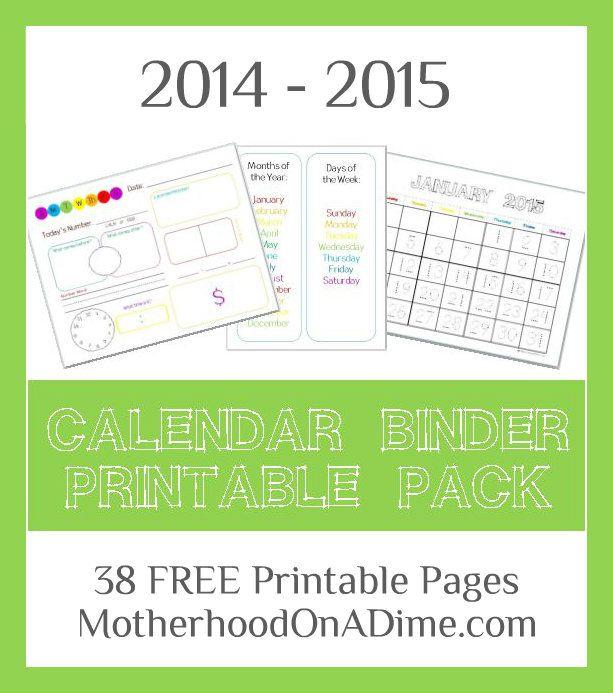 Calendar Binder Printables : Calendar binder free printables homeschool math