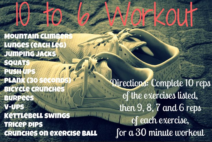 10 to 6 workout from @Peanut Butter Fingers