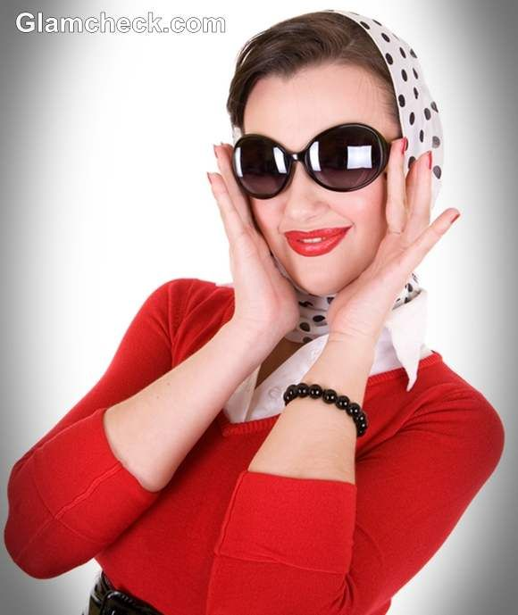 retro look with polka dot scarf | Scarves, Head Coverings | Pinterest