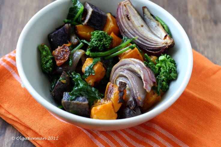 ... Squash, Red Onion & Purple Potato Salad with Broccoli Rabe and Bacon