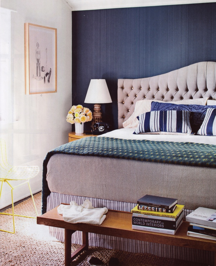 navy blue for master bedroom yellow teal accents