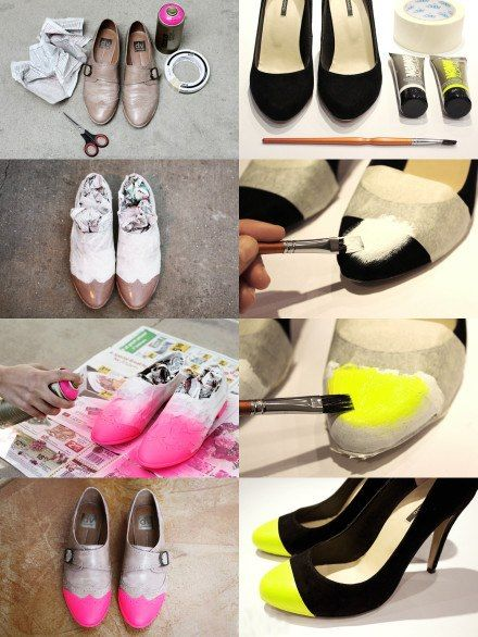 neon shoes diy