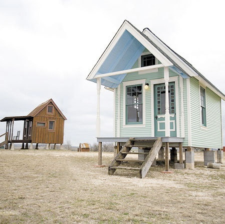 """Builder Brad Kittel makes these Texas """"Tiny Houses"""" from 95% recycled materials. The only new elements of the home are electric systems, plumbing, and insulation."""