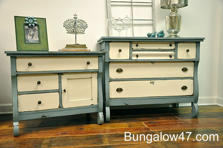 Cece Caldwell S Paints Makeover 1 Smoky Mountain Gray And Vintage White Painted Furniture