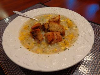 ... Soup / Potatoes, Golden Cauliflower/ Corn/ Bacon/ Cumin& Herb Croutons