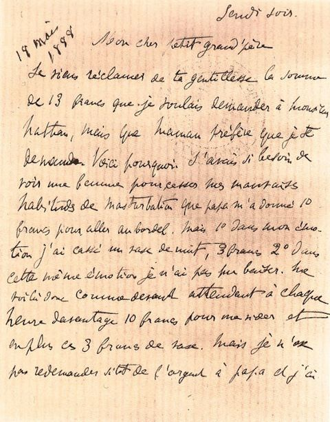 16-Year-Old Marcel Proust Tells His Grandfather About His Misguided Adventures at the Local Brothel