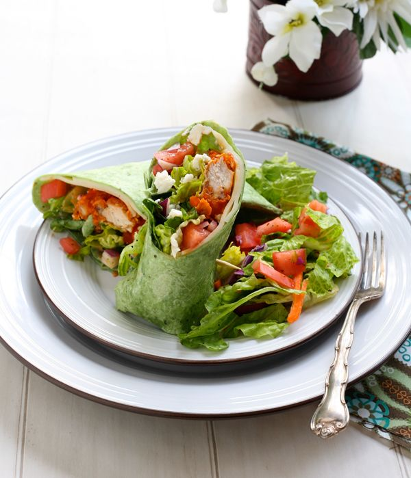 Buffalo Chicken Wraps // these look so fresh and yummy, gorgeous ...