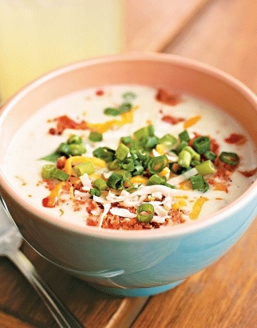 Potato Soup with bacon and cheddar cheese. Hot soup on a cold day. Add ...