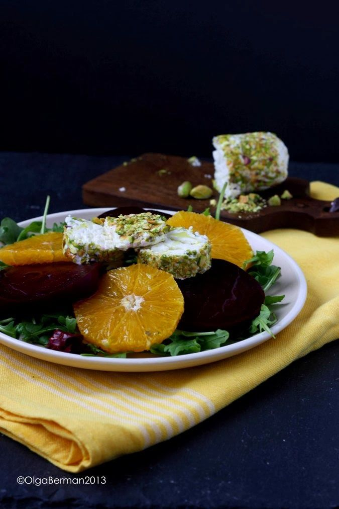... in a Salad: Beet & Orange Salad with Goat Cheese and Pistachios