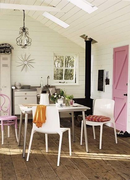 pink and white kitchen: painted interior doors