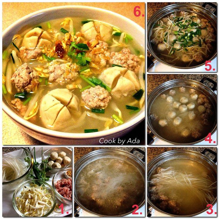 Each step how to cook thai noodle soup | AsianFood | Pinterest