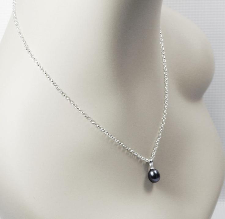 black pearl pendant single black pearl necklace
