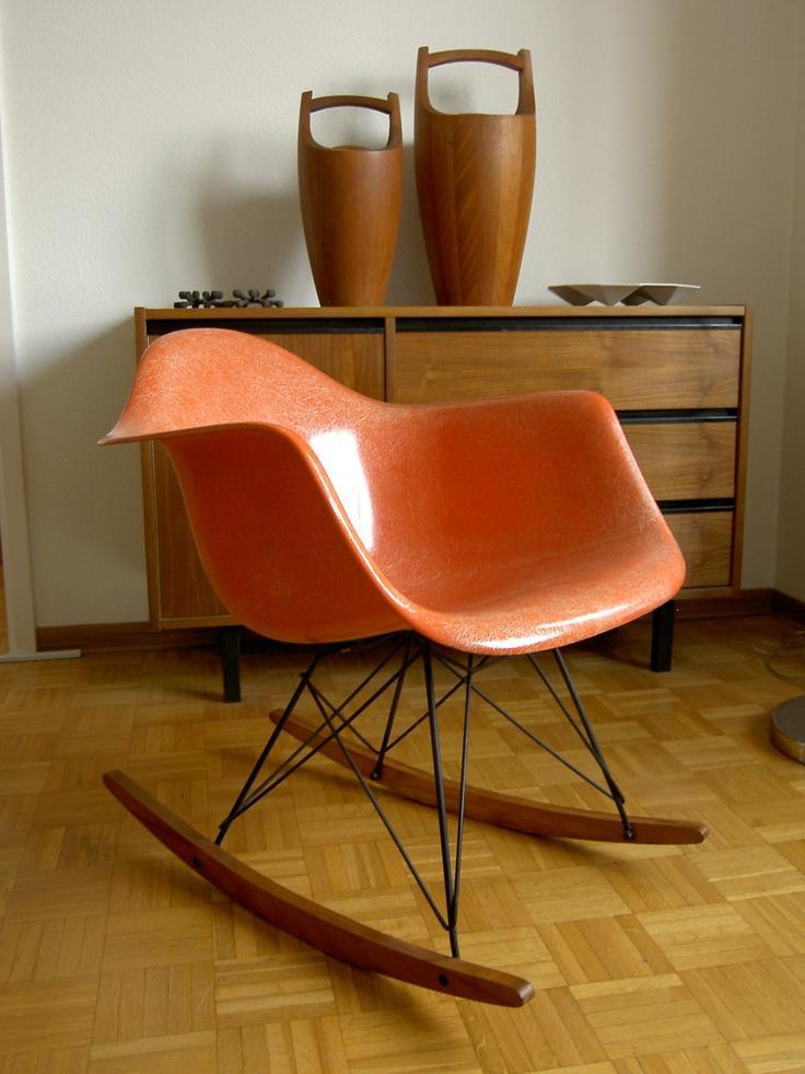 All original 1960 RAR vintage red rocking chair EAMES / Herman Miller ...