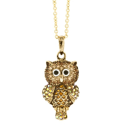 Unique andrew hamilton crawford necklace crystal owl gold includes