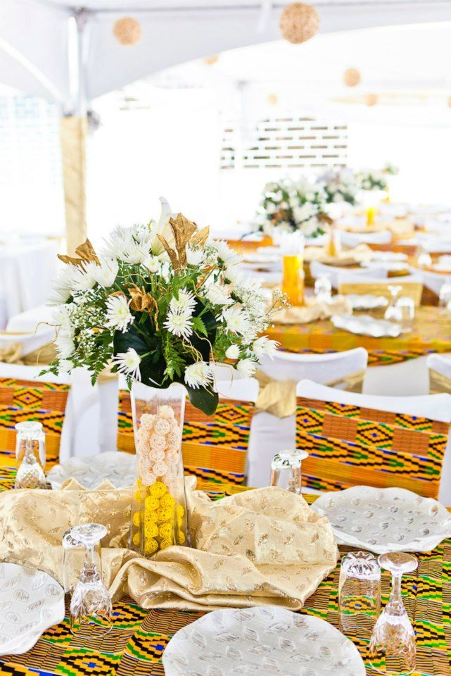 Kente fabric interior design decor ghana 2 african american wedding pinte - Decorations de mariage ...