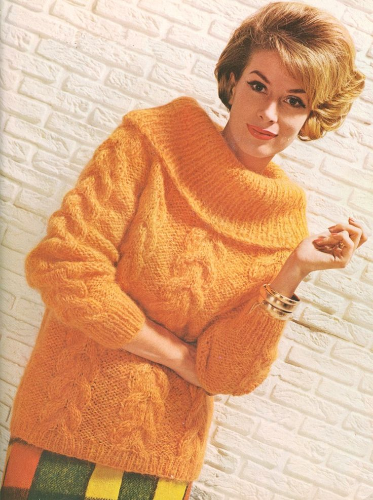 Classic Cardigan Knitting Pattern : Vintage 1960s Mohair Roll Collar Cable Knit Sweater Knitting Pattern