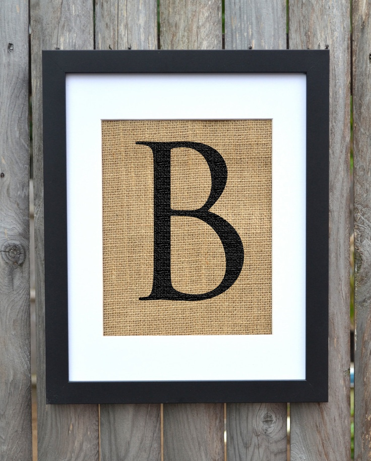 Wall Decor Letter B : Letter b monogram alphabet burlap wall decor frame is included
