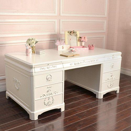 Shabby Cottage Chic Large White Office Executive Desk 8