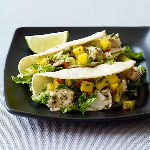 Use any firm fish in these fabulous soft tacos. Swap spicy salsa for the fruit salsa if you prefer. #recipe #WWLoves #LoseForGood